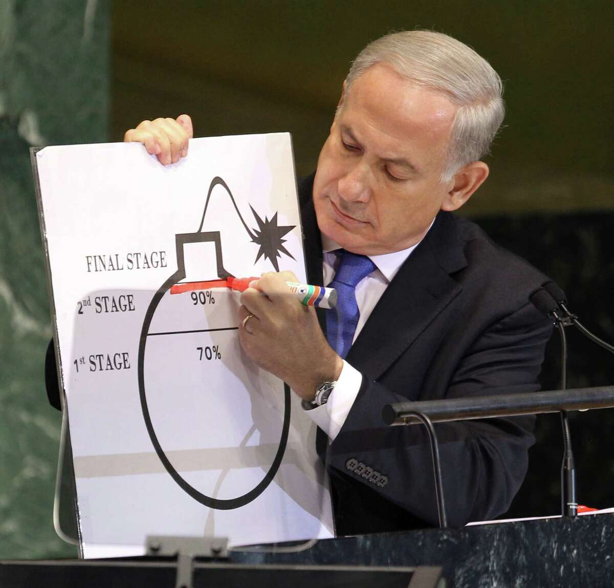 Prime Minister Benjamin Netanyahu of Israel shows an illustration as he describes his concerns over Iran's nuclear ambitions during his address to the United Nations General Assembly on Thursday.