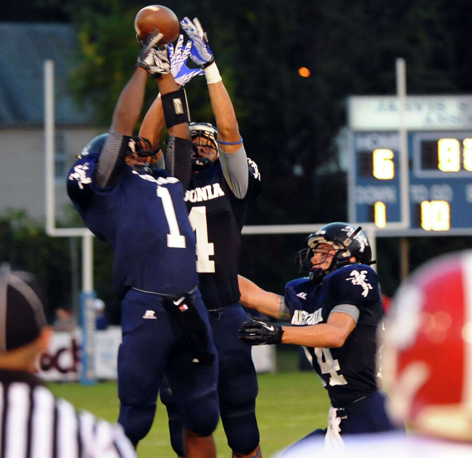 Football action between Ansonia and Derby in Ansonia, Conn. on Thursday September 27, 2012. Photo: Christian Abraham / Connecticut Post