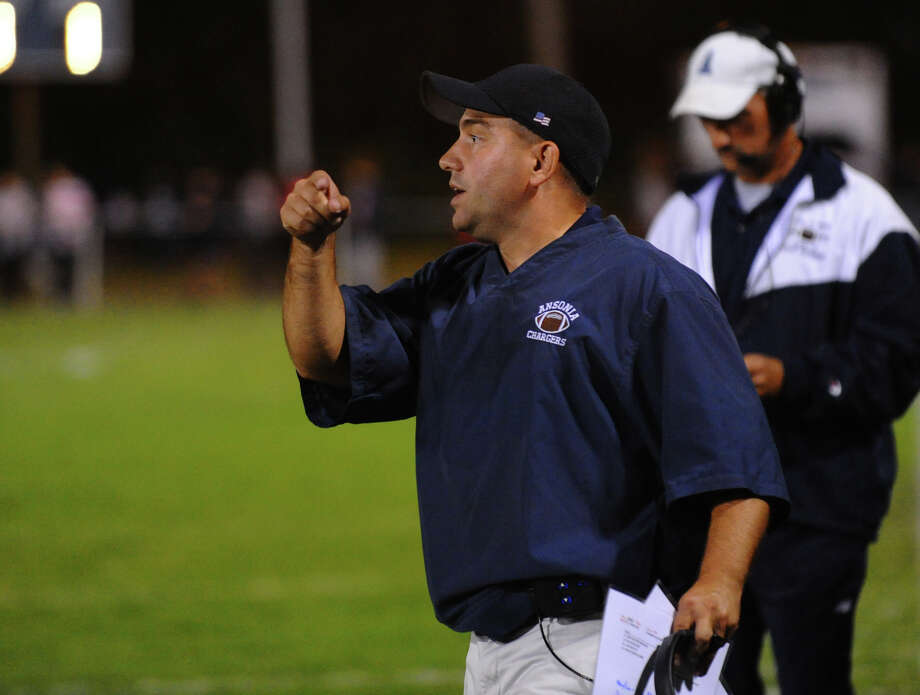 Ansonia Head Coach Thomas Brockett, during football action against Derby in Ansonia, Conn. on Thursday September 27, 2012. Photo: Christian Abraham / Connecticut Post