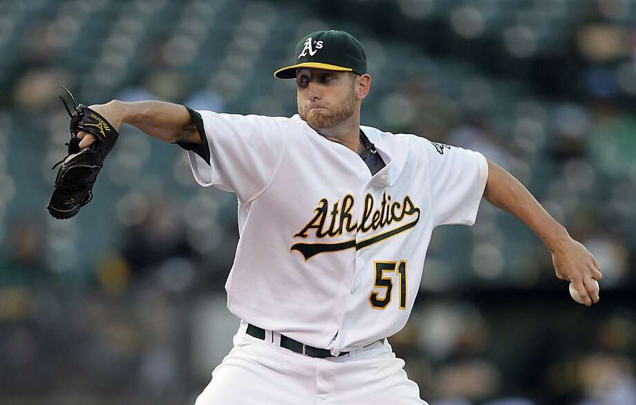 Oakland Athletics' Dallas Braden works against the Toronto Blue Jays during the first inning of a baseball game Tuesday, Aug. 17, 2010, in Oakland, Calif. Photo: Ben Margot, AP
