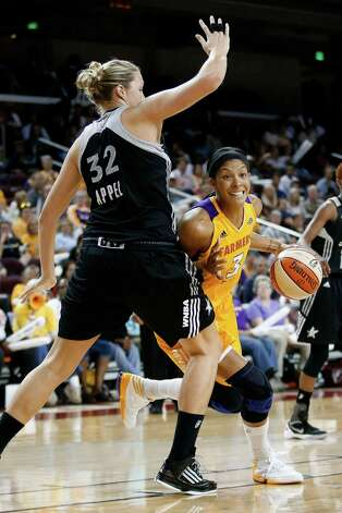 Los Angeles Sparks' Candace Parker, right, is defended by San Antonio Silver Stars' Jayne Appel during Game 1 of a WNBA basketball first-round playoff series, in Los Angeles on Thursday, Sept. 27, 2012. (AP Photo/Jae C. Hong) Photo: Jae C. Hong, Associated Press / AP