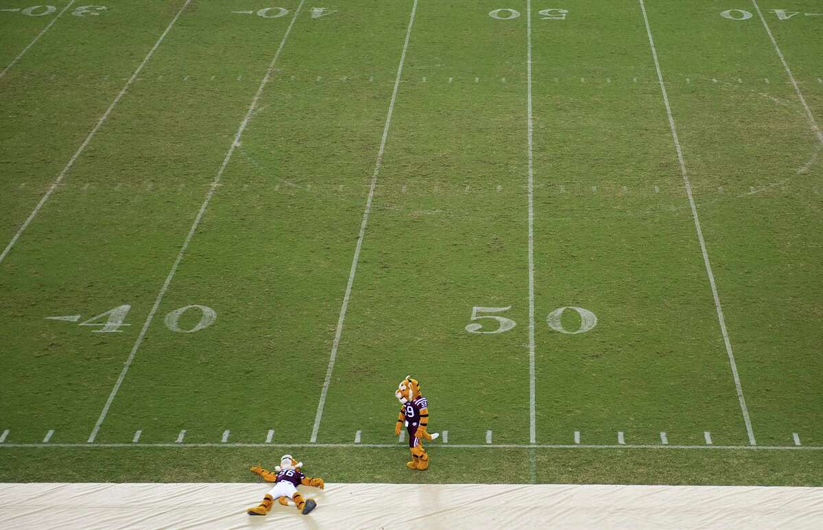 The Texas Southern University mascots perform on an empty field during halftime of a college football game against Sam Houston State at BBVA Compass Stadium.