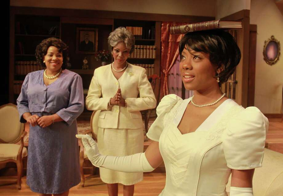 "(For the Chronicle/Gary Fountain, September 21, 2012)  Andrea Boronell, as Marie Dunbar, from left, Detria Ward as Grace Dubose Dunbar, and Candice D'Meza as as Gracie Dunbar, in this scene from the Ensemble Theatre's production of Pearl Cleage's ""The Nacirema Society"" a comedy set in 1963 in Montgomery, Alabama, about a society of African-American debutantes. Photo: Gary Fountain / Copyright 2012 Gary Fountain."
