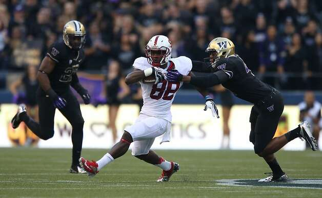 SEATTLE, WA - SEPTEMBER 27:  Wide receiver Ty Montgomery #88 of the Stanford Cardinal rushes against the Washington Huskies on September 27, 2012 at CenturyLink Field in Seattle, Washington.  (Photo by Otto Greule Jr/Getty Images) Photo: Otto Greule Jr, Getty Images