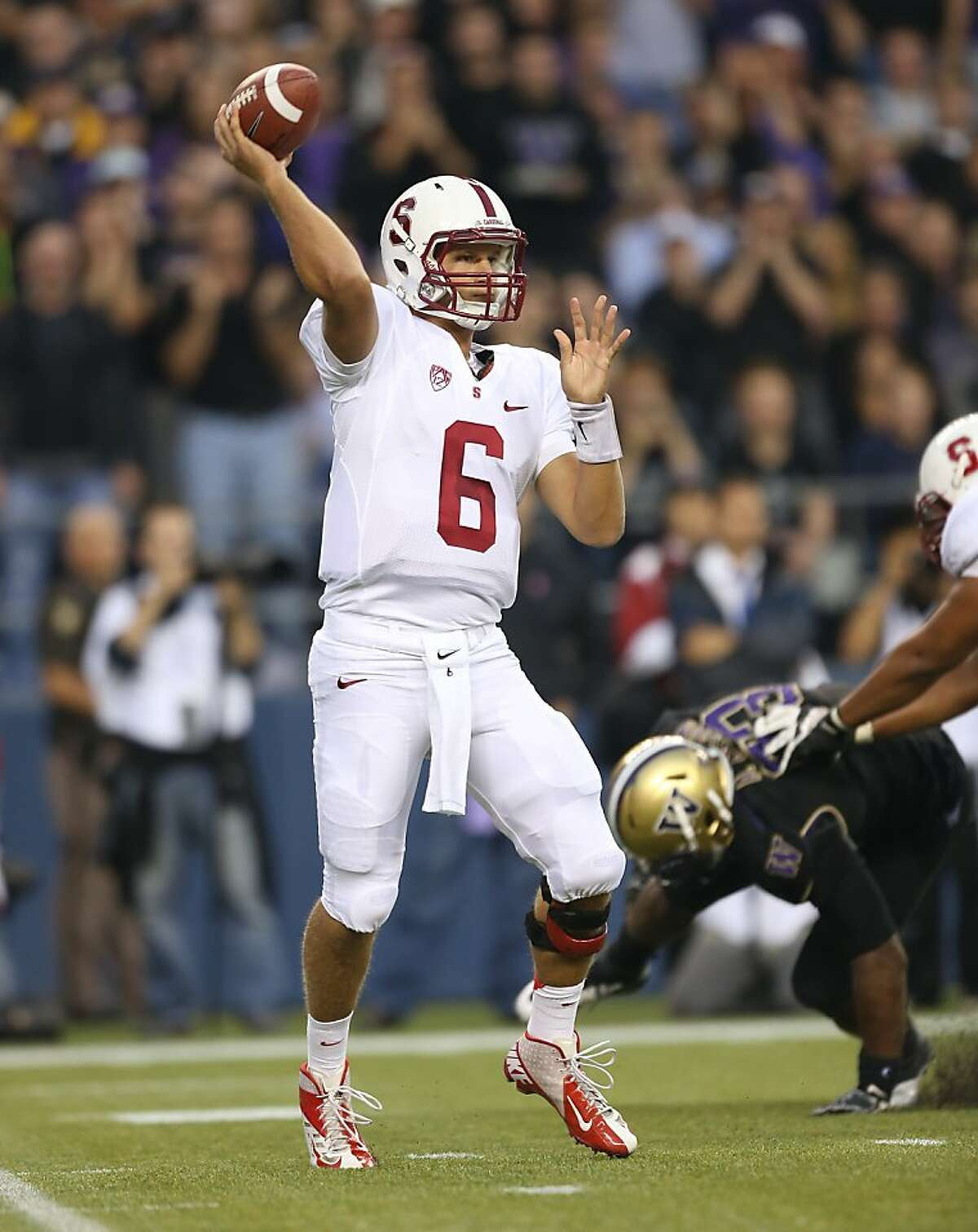 SEATTLE, WA - SEPTEMBER 27: Quarterback Josh Nunes #6 of the Stanford Cardinal passes against the Washington Huskies on September 27, 2012 at CenturyLink Field in Seattle, Washington. (Photo by Otto Greule Jr/Getty Images)