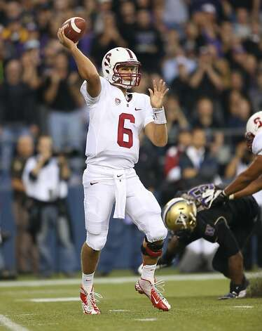 SEATTLE, WA - SEPTEMBER 27:  Quarterback Josh Nunes #6 of the Stanford Cardinal passes against the Washington Huskies on September 27, 2012 at CenturyLink Field in Seattle, Washington.  (Photo by Otto Greule Jr/Getty Images) Photo: Otto Greule Jr, Getty Images