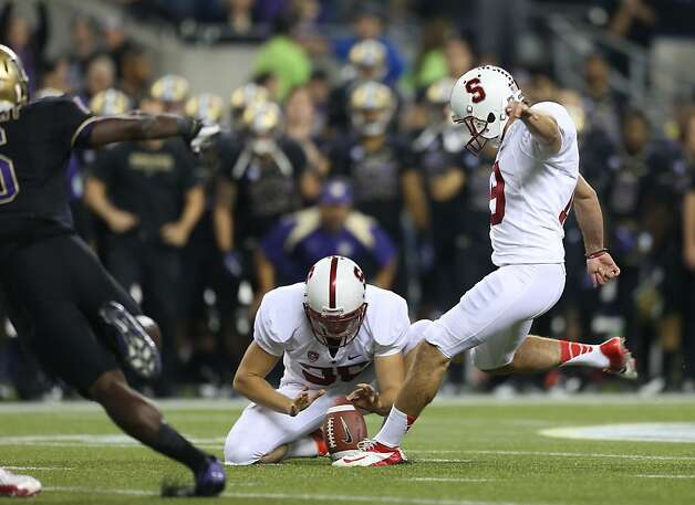 SEATTLE, WA - SEPTEMBER 27:  Kicker Jordan Williamson #19 of the Stanford Cardinal kicks a field goal in the second quarter against the Washington Huskies on September 27, 2012 at CenturyLink Field in Seattle, Washington.  (Photo by Otto Greule Jr/Getty Images) Photo: Otto Greule Jr, Getty Images