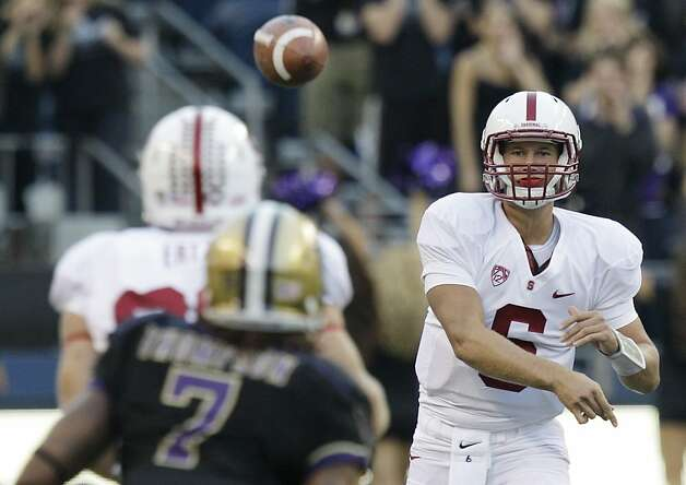 Stanford quarterback Josh Nunes passes against Washington in the first half of an NCAA college football game, Thursday, Sept. 27, 2012, in Seattle. (AP Photo/Ted S. Warren) Photo: Ted S. Warren, Associated Press