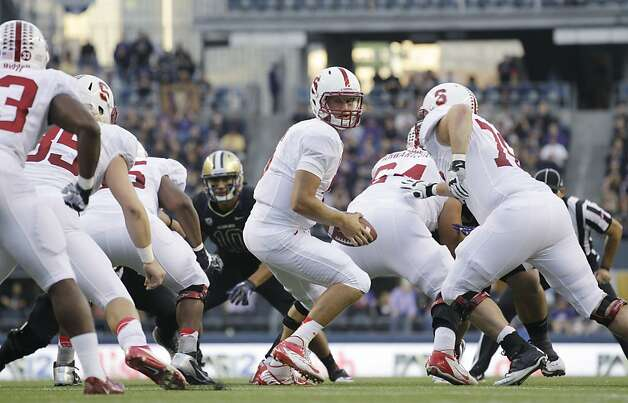 Stanford quarterback Josh Nunes drops back during the first half of an NCAA college football game against Washington, Thursday, Sept. 27, 2012, in Seattle. (AP Photo/Ted S. Warren) Photo: Ted S. Warren, Associated Press