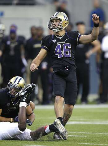 Washington's Travis Coons watches his field goal against Stanford in the first half of an NCAA college football game, Thursday, Sept. 27, 2012, in Seattle. (AP Photo/Ted S. Warren) Photo: Ted S. Warren, Associated Press