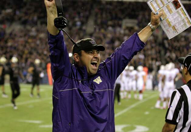 Washington head coach Steve Sarkisian enters the Nov. 23 Apple Cup with a four-game win streak and an undefeated record against the Cougars. Photo: Ap