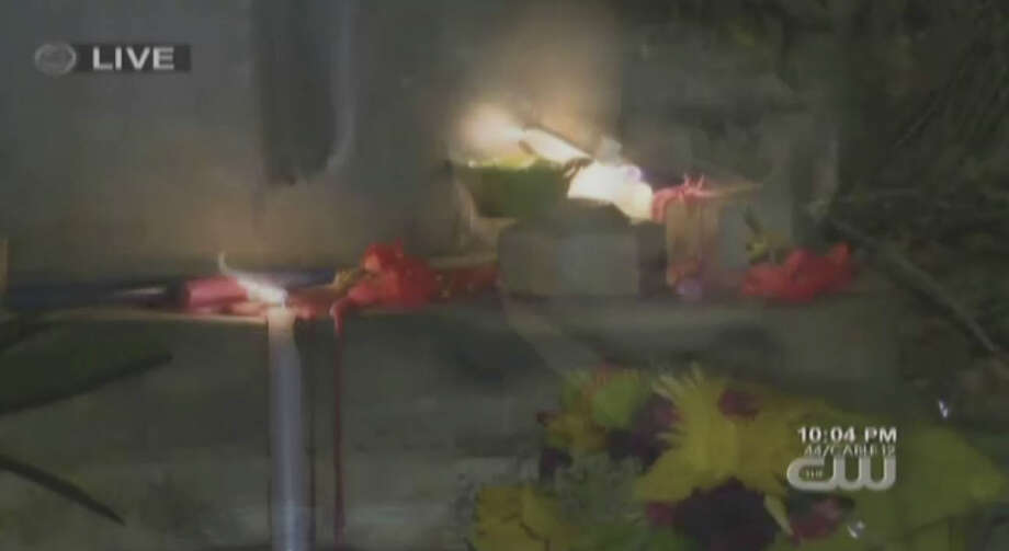 A memorial at the location on Novato Blvd. and Sandy Creek Way where a 12-year old was killed by a car in Novato Photo: CBS San Francisco