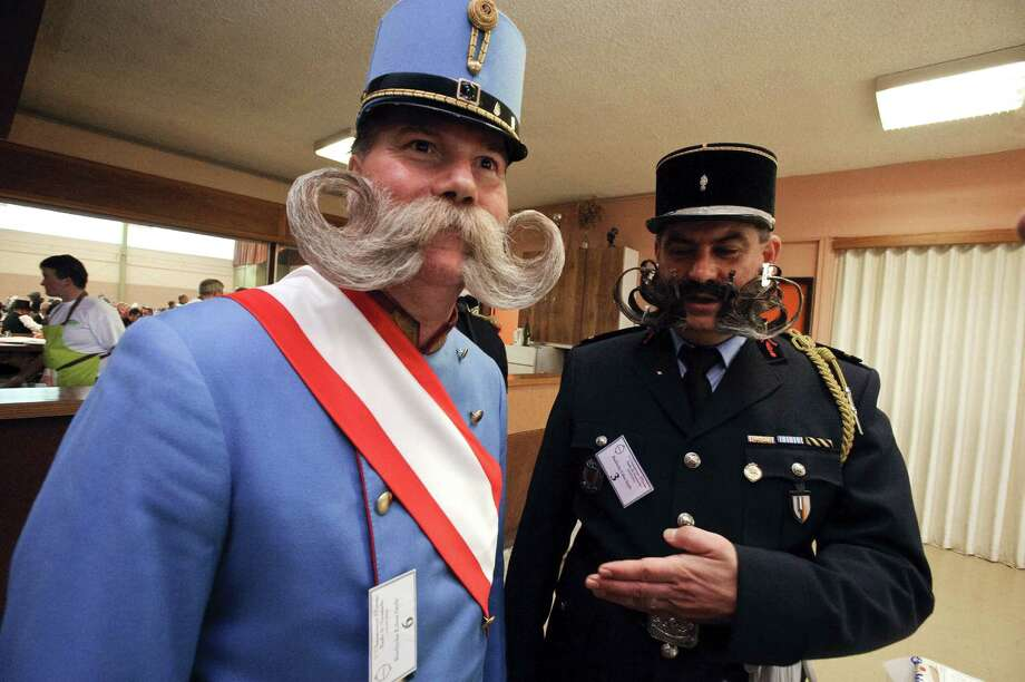 Competitors wait backstage prior to go on stage during the first edition of the European Beard and Mustache championships on Sept. 22, 2012, in Wittersdorf, France.  AFP PHOTO / SEBASTIEN BOZON Photo: SEBASTIEN BOZON, Getty / 2012 AFP