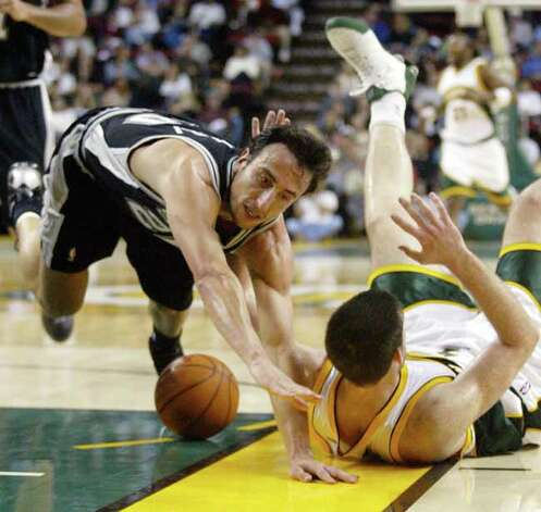 Sometimes it seems like the Spurs' Manu Ginobili is hurt more than he's healthy. Here's a look back at some of his more memorable injuries. The Spurs' Manu Ginobili falls to the court during the first quarter against the Seattle SuperSonics in Seattle on Nov. 7, 2004. Photo: JOHN FROSCHAUER, AP / AP