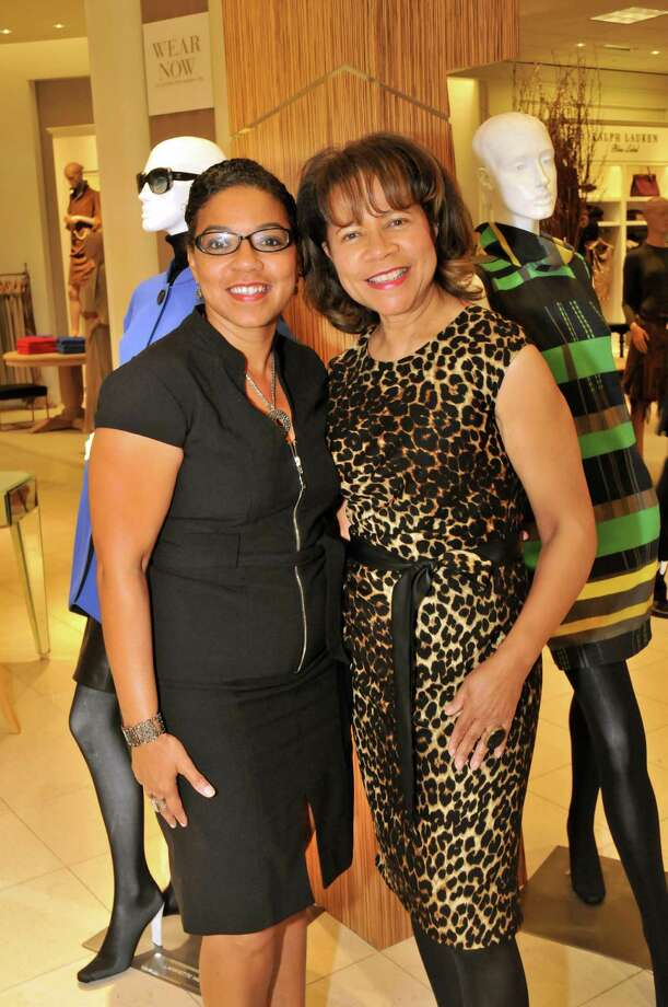 Juana Collins and Merele Yarborough at the United Negro College Fund kickoff party at Saks Fifth Avenue, featuring a fashion show of the fall 2012 collection for Lafayette 148, by Edward Wilkerson. Photo: Vicky Pink