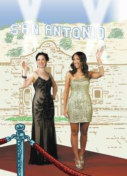 Stefanie Sager and Taina Maya, as Ashley Judd and Jessica Alba on the red carpet. Photo: Helen L. Montoya Illustration By, San Antonio Express-News / ©SAN ANTONIO EXPRESS-NEWS