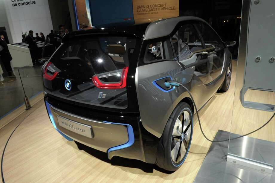 A BMW i3 concept car is presented during the press days ahead of the opening of the Paris Motor Show on Sept. 27, 2012. Photo: AFP, AFP/Getty Images / 2012 AFP