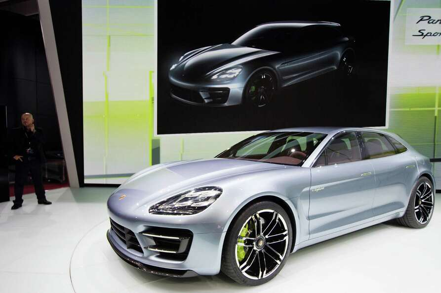 A Porsche Panamera is presented during the press days ahead of the opening of the Paris Motor Show o