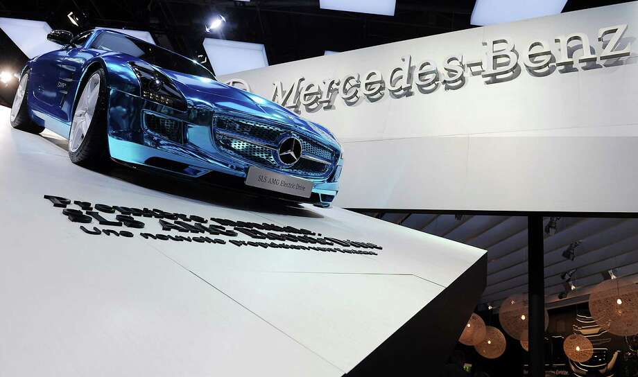 A Mercedes-Benz SLS AMG Electric Drive sits on display at the Paris Motor Show on Sept. 27, 2012. Photo: Antoine Antoniol, Getty Images / 2012 Getty Images