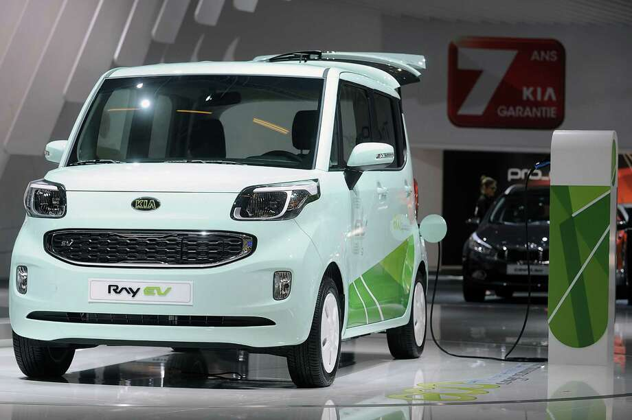 PARIS, FRANCE - SEPTEMBER 28:  A Kia Ray electric car sits on display at the Paris Motor Show on September 28, 2012 in Paris, France. The Paris Motor Show runs September 29 - October 14. Photo: Antoine Antoniol, Getty Images / 2012 Getty Images