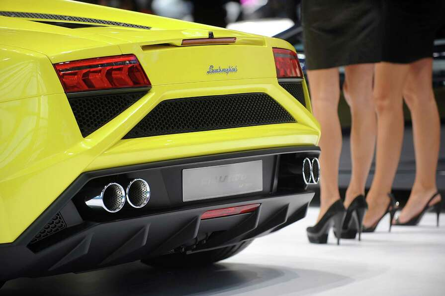 PARIS, FRANCE - SEPTEMBER 28: A Lamborghini Gallarda car sits on display at the Paris Motor Show on