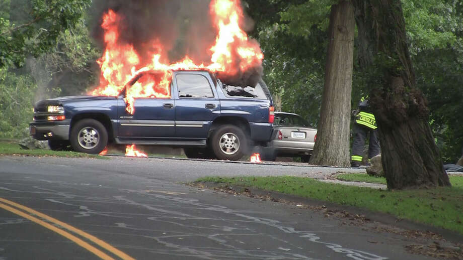 A man was seriously burned Thursday night when his car caught on fire in the parking lot of Tunxis Park on Melville Avenue in Fairfield, Conn., police said. Photo by Stephen Krauchick, doingitlocal.com. Photo: Stephen Krauchick
