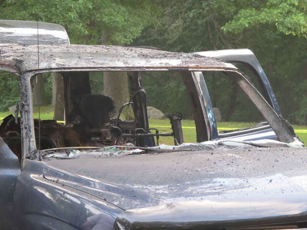 A man was seriously burned Thursday night, Sept. 6, 2012 when his car caught on fire in the parking lot of Tunxis Park on Melville Avenue in Fairfield, Conn., police said. Photo: Tom Cleary