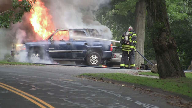 A man was seriously burned Thursday night when his car caught on fire in the parking lot of Tunxis Park on Melville Avenue in Fairfield, Conn., police said. Photo by Stephen Krauchick, doingitlocal.com. Photo: Steve Krauchick