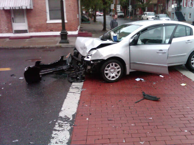 A Troy police car collided with another vehicle on Friday, Sept. 28, 2012, at the intersection of Ferry Street and Fifth Avenue in Troy. (Troy Police Department photo)