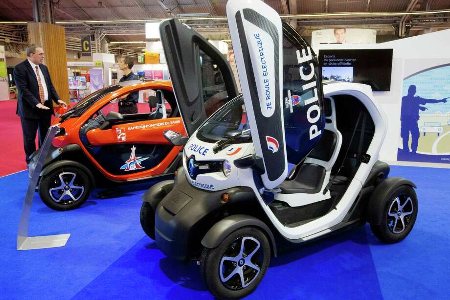 A French police Renault Twizy car is displayed during the press days of the Paris Motor Show on Sept. 28, 2012. Photo: JOEL SAGET, AFP/Getty Images / 2012 AFP