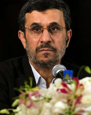 Iran's President Mahmoud Ahmadinejad speaks at a news conference on September 26, 2012 in New York.  (DON EMMERT / AFP/Getty Images)
