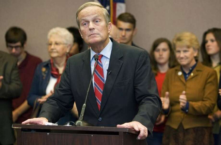 U.S. Senate candidate Todd Akin speaks to the media during a bus tour, Friday, Sept. 28, 2012, in Kansas City, Mo. Akin is facing Missouri Sen. Claire McCaskill in the November election. (Mike Ransdell / Associated Press)