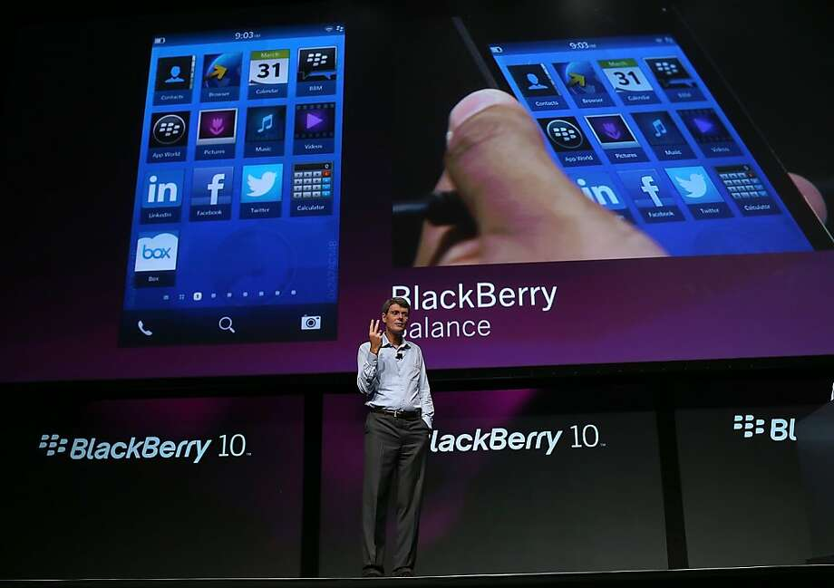 Research In Motion CEO Thorsten Heins talks about the BlackBerry 10 during a conference this week in San Jose. Photo: Justin Sullivan, Getty Images