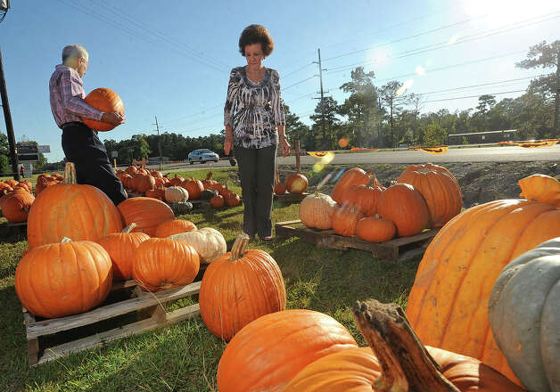 Fun pumpkins at Winfree Baptist Church in Orange during the 2011 fall season.   Guiseppe Barranco/The Enterprise Photo: Guiseppe Barranco
