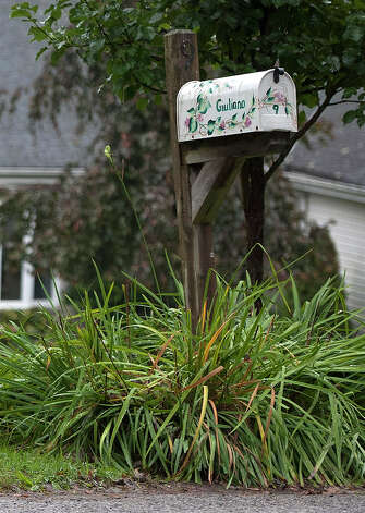 A mailbox sits in front of the home of Jeffrey Giuliano in New Fairfield, Conn., Friday, Sept. 28, 2012. Giuliano fatally shot a masked teenager in self-defense during what appeared to be an attempted burglary early Thursday morning, then discovered that he had killed his son, state police said. (AP Photo/Jessica Hill) Photo: Jessica Hill, Associated Press / FR125654 AP