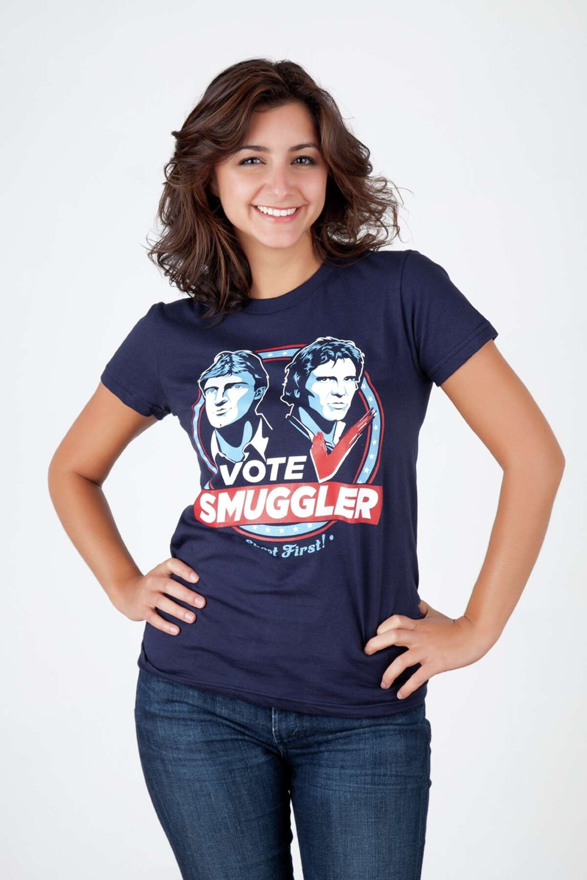 """Ian Leino's """"Vote Smuggler"""" T-shirt pays homage to two of sci-fi's most lovable scoundrels: Han Solo and Mal Reynolds."""