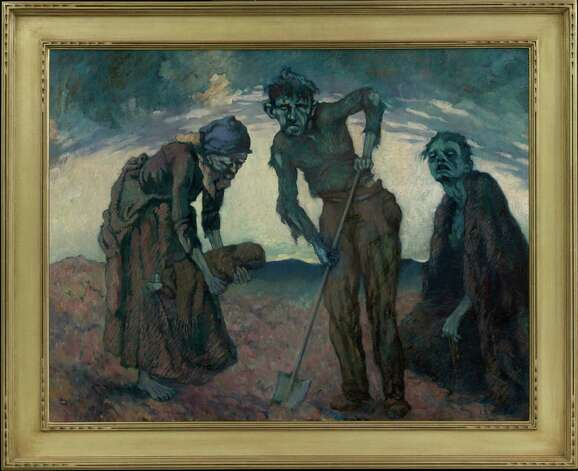 """Burying the Child,"" an oil on canvas by Lillian Lucy Davidson (1879-1954), depicts the ""annihilating grief' that comes from losing a child to poverty, hunger and disease. The painting is one of the focal points at Ireland's Great Hunger Museum, at Quinnipiac University, which opens to the public on Oct. 11, 2012. Photo: Contributed Photo"
