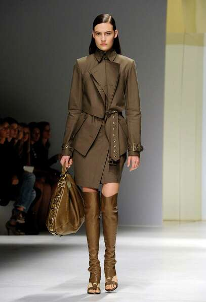 A model wears a creation as part of the Salvatore Ferragamo collection.