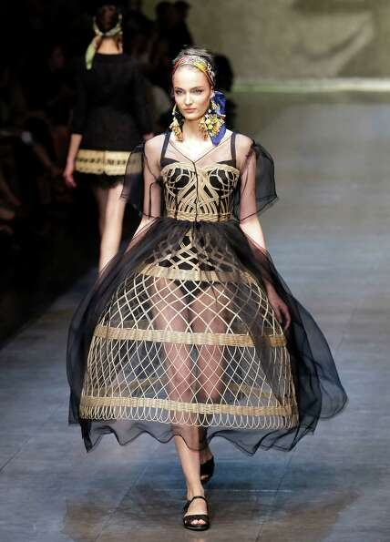 A model wears a creation as part of the Dolce & Gabbana collection.