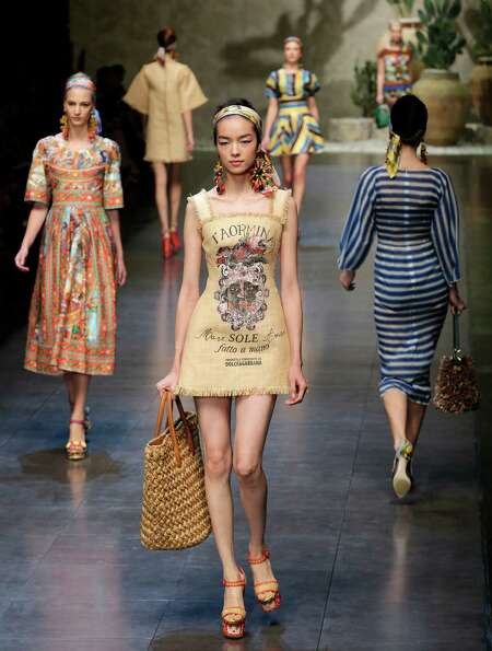 Models wear creations as part of the Dolce & Gabbana  collection.