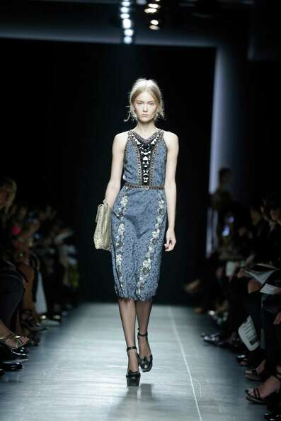 A model wears a creation as part of the Bottega Veneta collection.