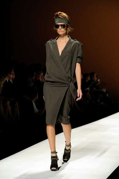 A model wears a creation as part of the Max Mara collection.