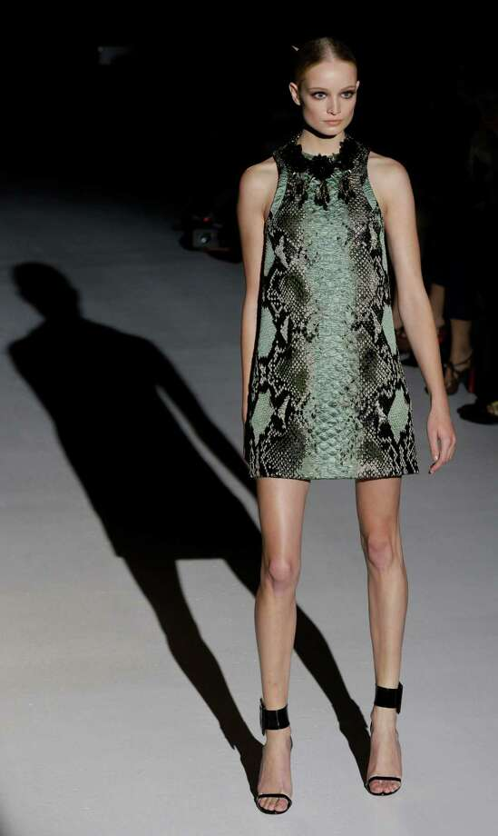A model wears a creation as part of the Gucci collection. Photo: Luca Bruno, ASSOCIATED PRESS / AP2012