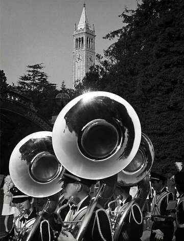 The Cal Band's horns glisten in Ansel Adams' black-and-white shot of a pregame parade in 1966. Photo: Ansel Adams, Bancroft Library