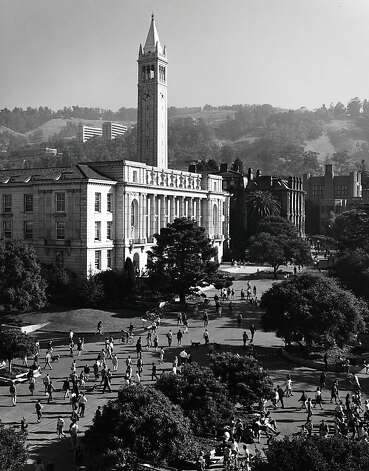 The roof of Dwinelle Hall offers a clear shot of students changing classes at UC Berkeley in '66. Ansel Adams spent three years photographing the UC system. Photo: Ansel Adams, Bancroft Library