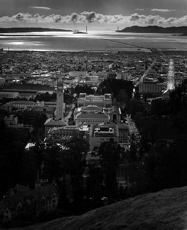 "Fiat Lux West from the Big ""C"" (Late PM into Sun), April 1965 Photo: Ansel Adams, Bancroft Library"