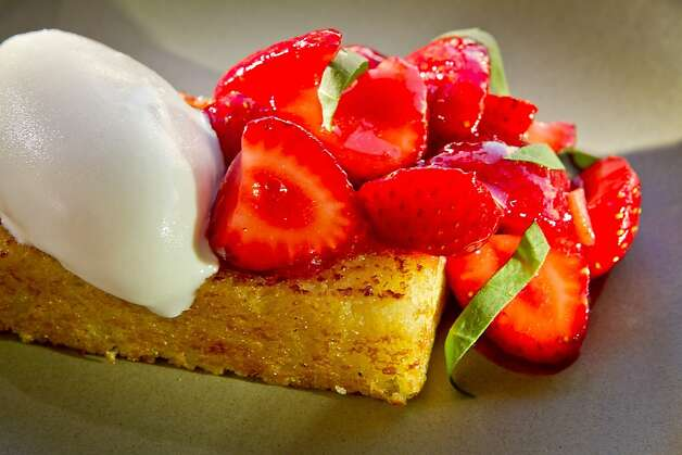 The Olive Oil Cake with Strawberries at Rich Table in San Francisco is seen on Wednesday, September 19th, 2012. Photo: John Storey, Special To The Chronicle