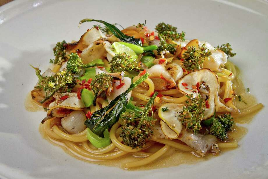 Evan Rich's spaghetti with abalone and broccolini. Photo: John Storey / John Storey / John Storey