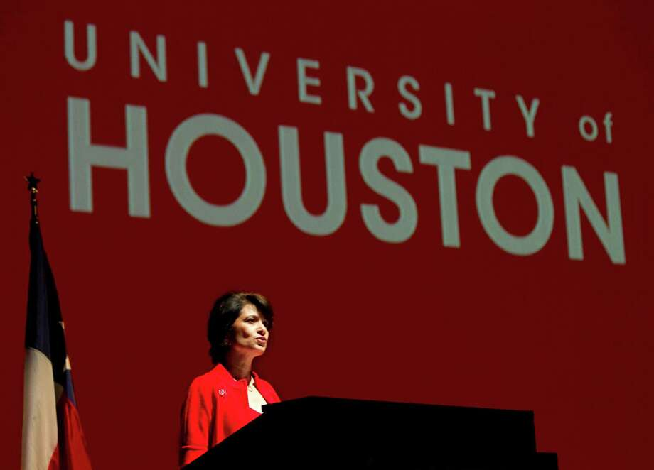 The U.S. Department of Education has recognized the University of Houston (above) as a  Hispanic-Serving Institution. That  designation enhances the school's contribution to the larger community, says UH President Renu Khator (below). Photo: Brett Coomer / Houston Chronicle