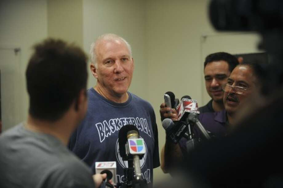 San Antonio  Spurs head coach Gregg Popovich speaks with the media at the team's practice facility on Friday, Sept. 28, 2012. (San Antonio Express-News)